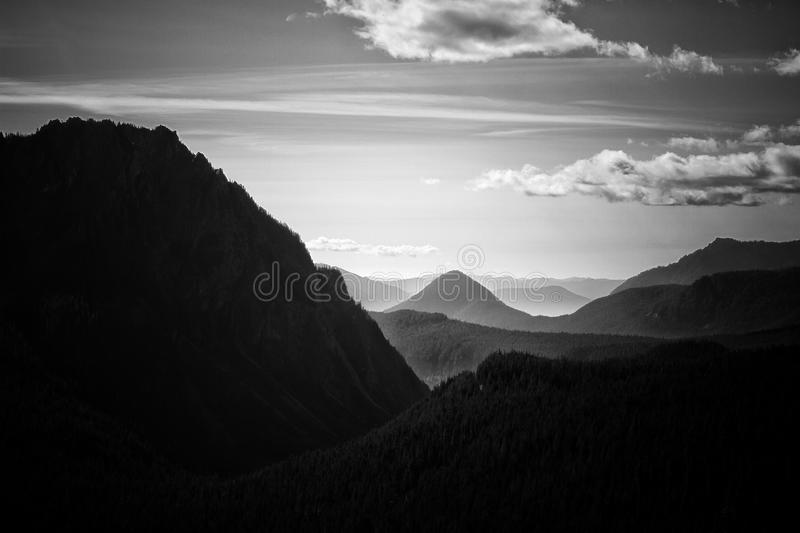Grayscale Photography Of Mountain stock image