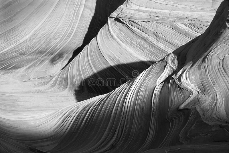 Grayscale Photography of Mountain Pass royalty free stock images