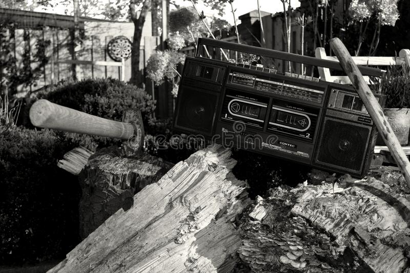 Grayscale Photography Of Radio On Tree Trunk With Axe Free Public Domain Cc0 Image