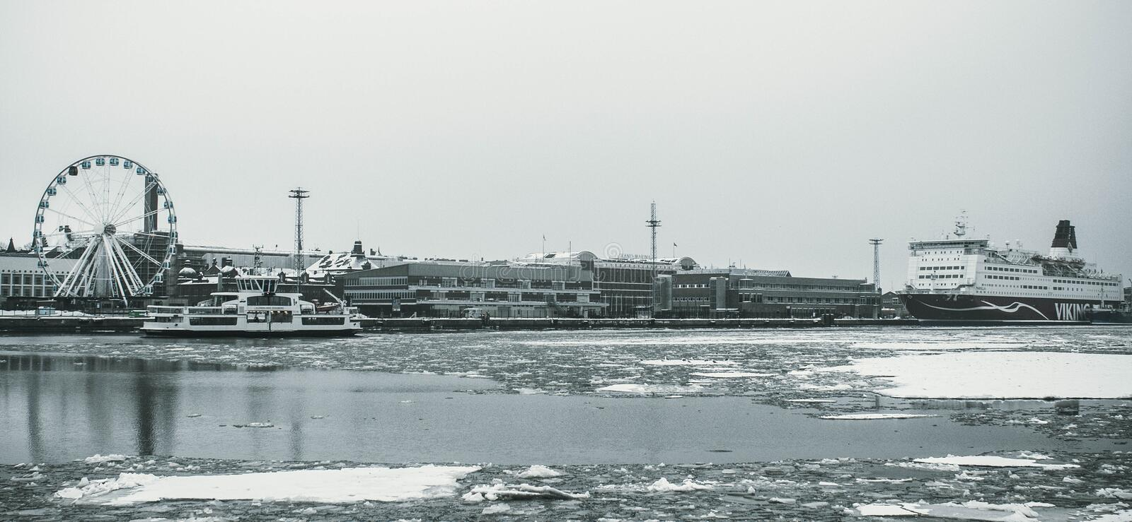 Grayscale Photography Of Ship On Body Of Water stock photography