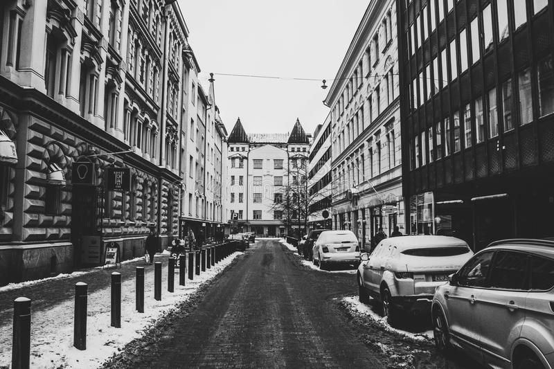 Grayscale Photography Of Street In The City royalty free stock photo