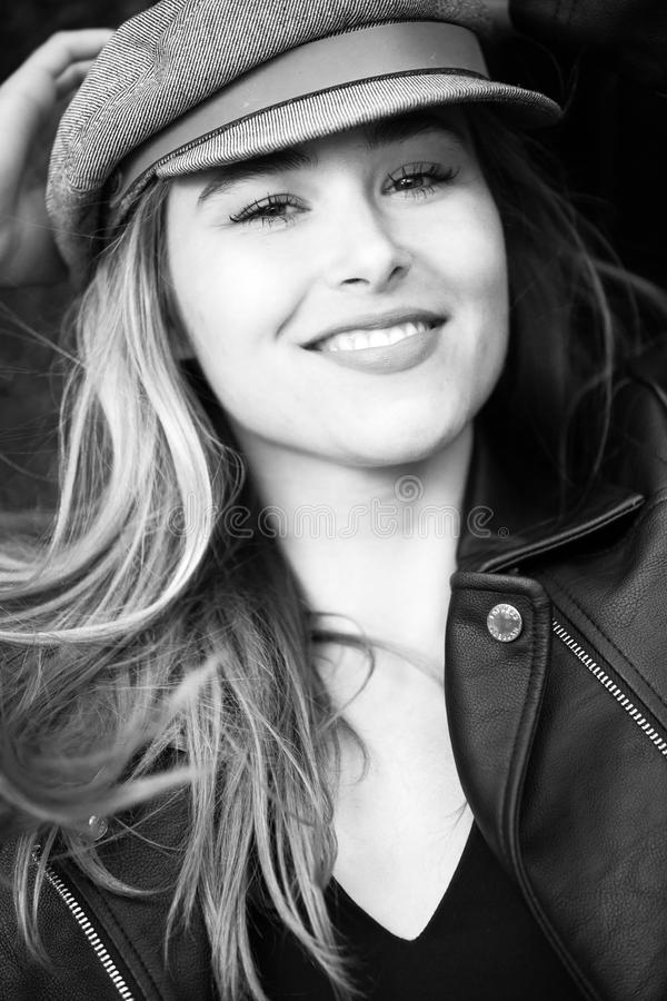 Grayscale Photography of Woman Wearing Hat stock photos