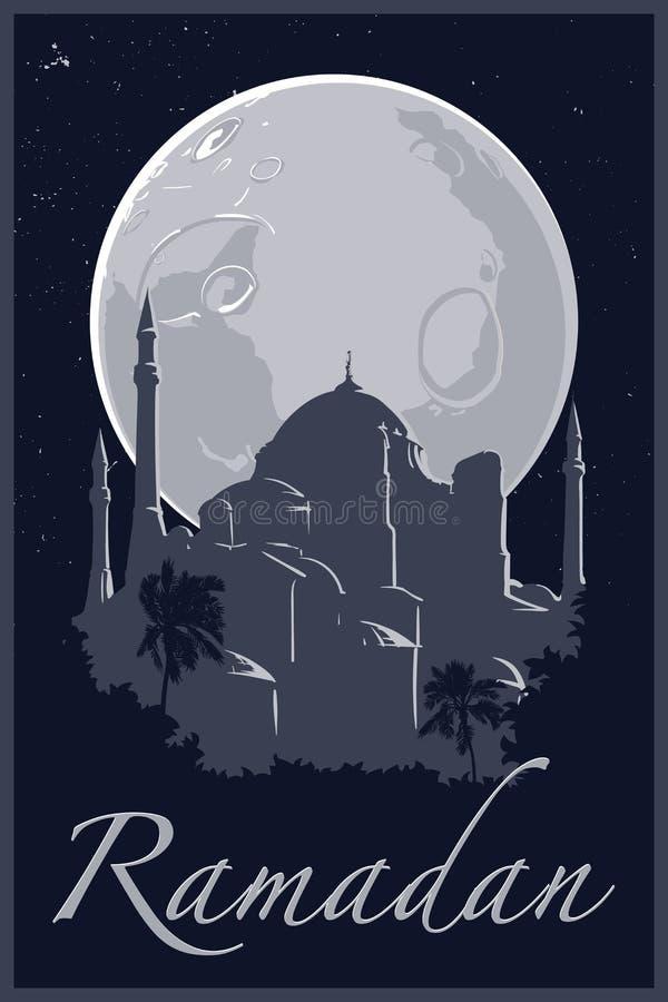 Grayscale Ramadan Hagia Sophia plakat ilustracja wektor