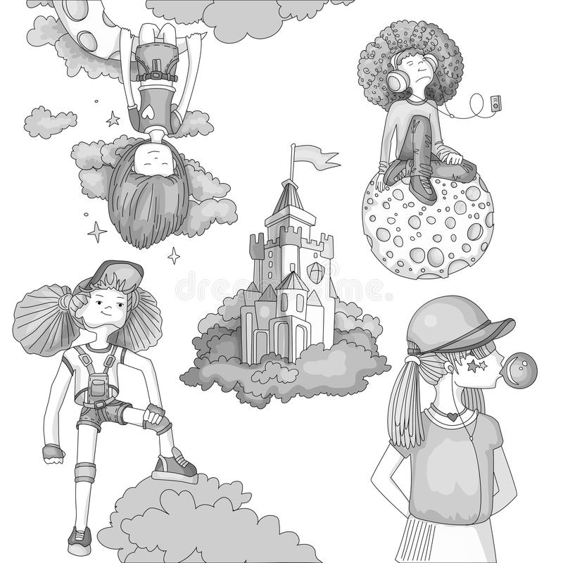 Grayscale Set of teenage girl icons, cute cartoon teen objects, fun stickers design vector in teenager girls concept stock illustration