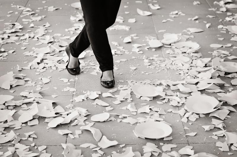 Grayscale of Woman in Black Flat Sandals Walking royalty free stock photo