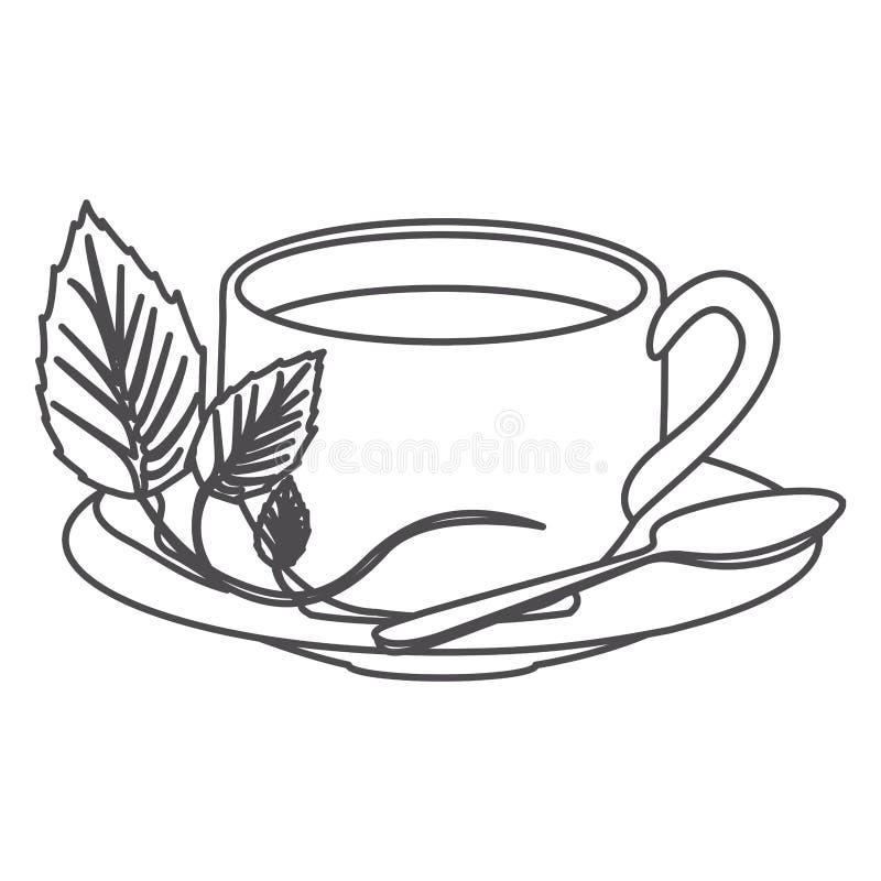 Grayscalekontur der heißen Tasse Tee stock abbildung