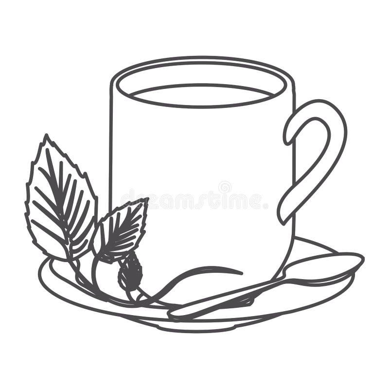 Grayscalekontur des heißen Bechers Tees stock abbildung