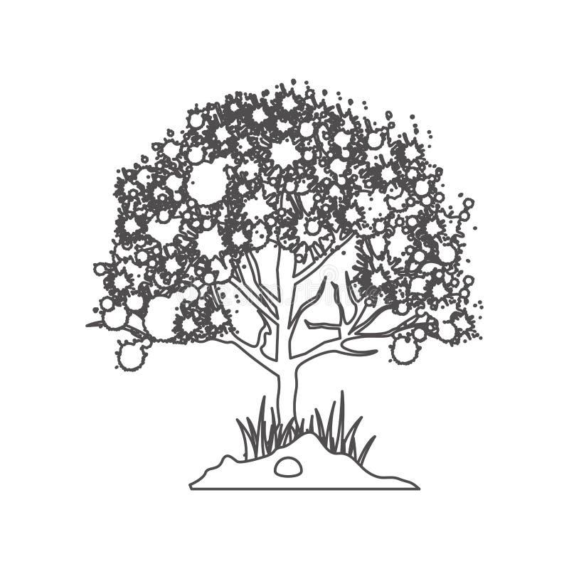 Grayscalekontur mit belaubtem Baum vektor abbildung