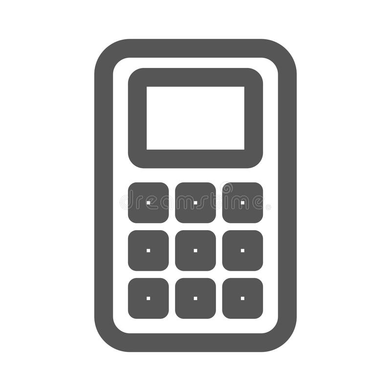 Grayscalekontur mit grundlegendem Taschenrechner vektor abbildung