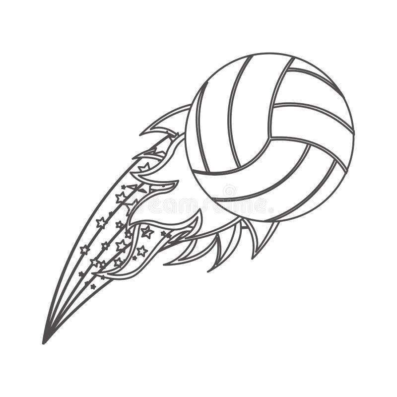 Grayscalekontur mit olympischer Flamme mit Volleyballball stock abbildung