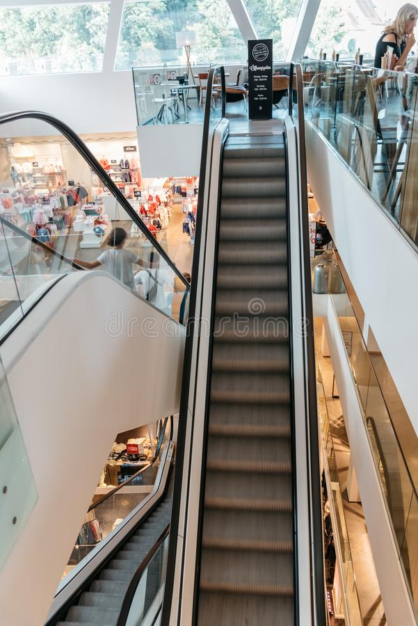 Interior view of shopping center in Graz stock image