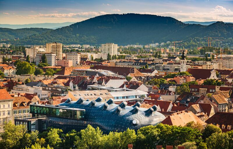 Graz Art Museum, Kunsthaus Graz. Contemporary architecture designed by Colin royalty free stock photo