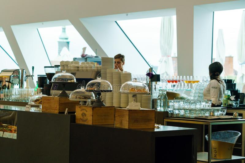 Interior of a cafe in a shopping center with waitresses, Graz, A royalty free stock images