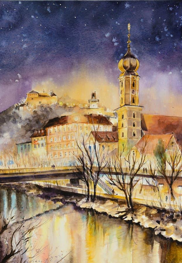 Graz, Austria przy nocą ilustracja wektor