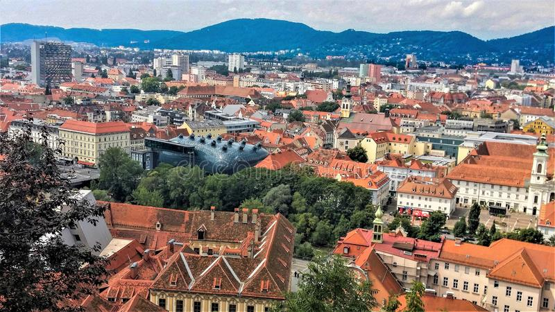 Graz, Austria. The View from high of the wonderful City of Graz, Austria stock images