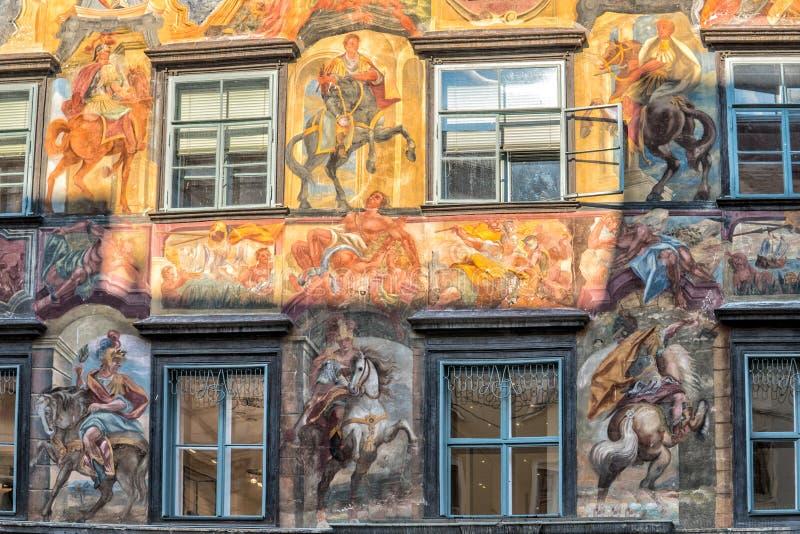 Graz austrians Wrzesień 2018 Fasada budynek w centrum miasta obrazy royalty free