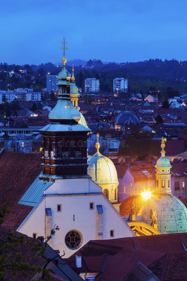 Graz Cahtedral and Katharinenkirche stock photo