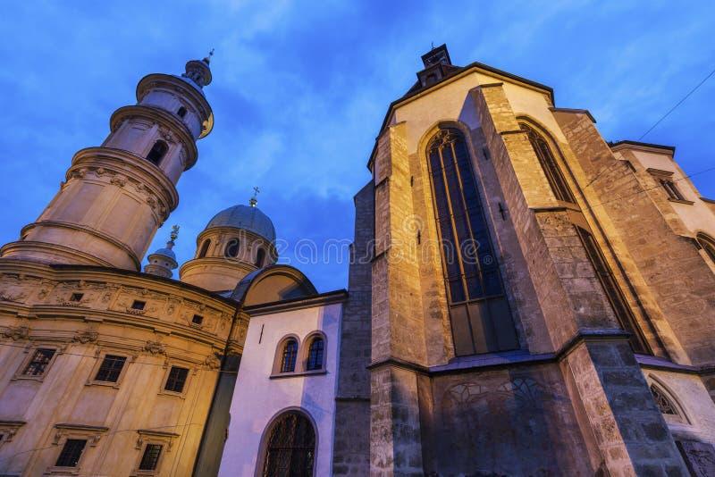 Graz Cahtedral y Katharinenkirche imagen de archivo libre de regalías