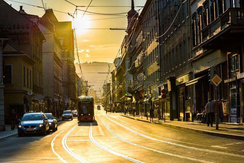 Graz city street sun setting stock image