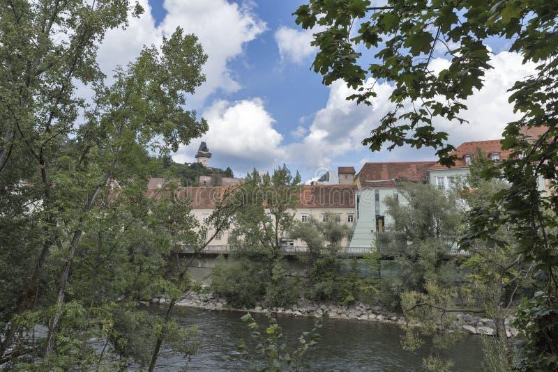 Graz cityscape with Mur river, Austria stock photography