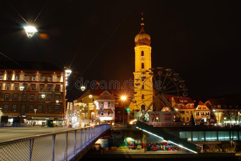 Graz di notte, l'Austria fotografie stock