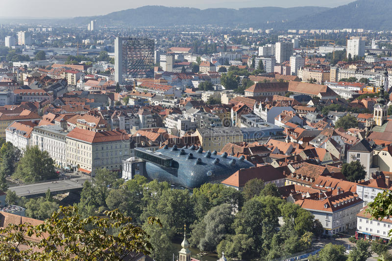 Graz downtown autumn aerial cityscape, Austria. stock photography