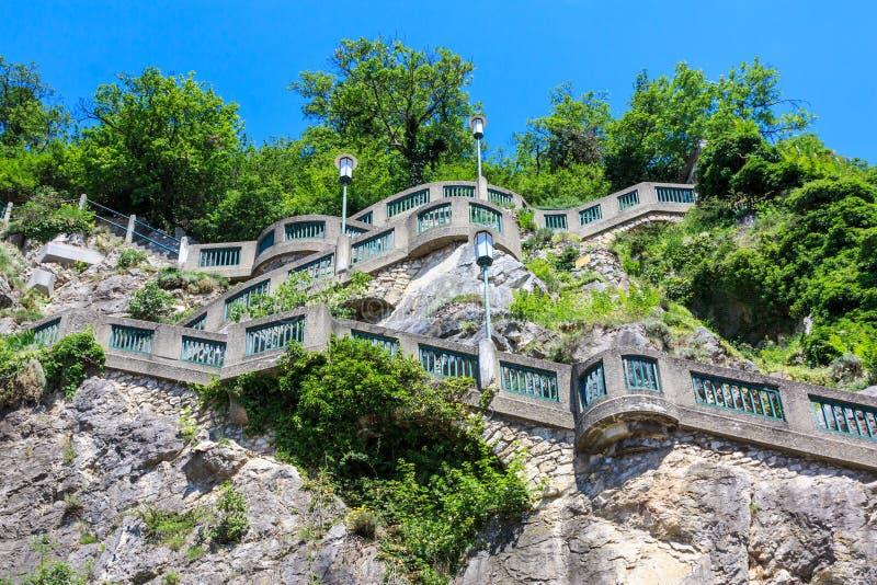 Graz, escaliers à la côte de Schlossberg, Autriche photo libre de droits
