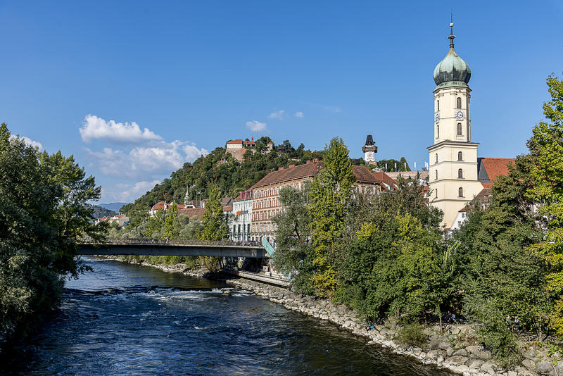 Graz - Stadsmening - Oostenrijk Steiermark stock foto