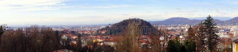 Graz Styria Österrike panorama royaltyfria foton