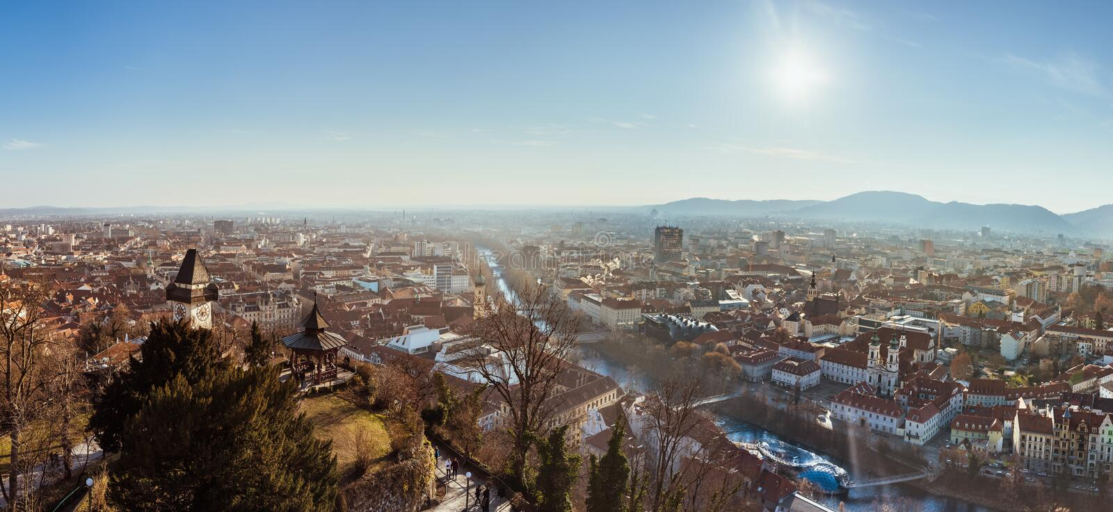 Wide panorama of Graz City from castle hill Schlossberg, Travel destination royalty free stock photos