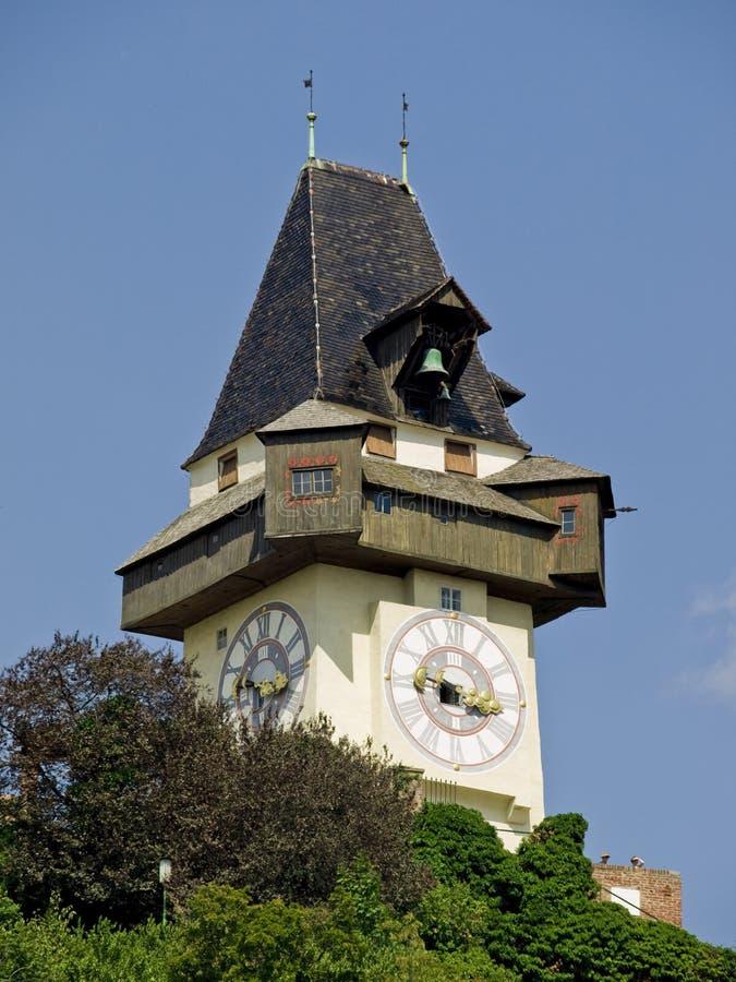 Graz, Uhrturm immagini stock libere da diritti