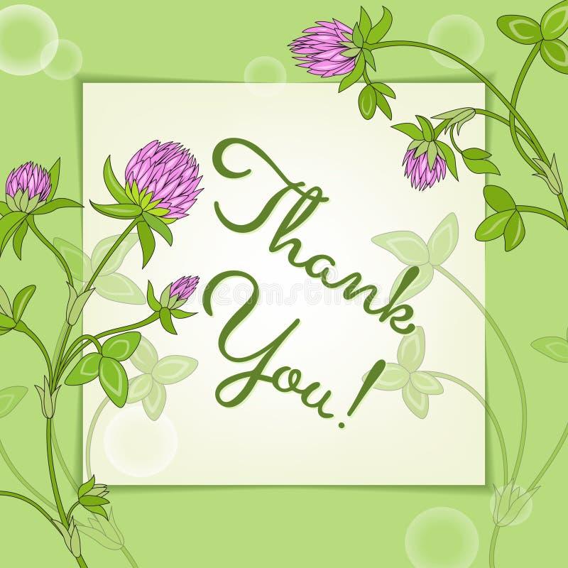 Grazie carta con i fiori rosa del trifoglio su pezzo di carta con ombra royalty illustrazione gratis