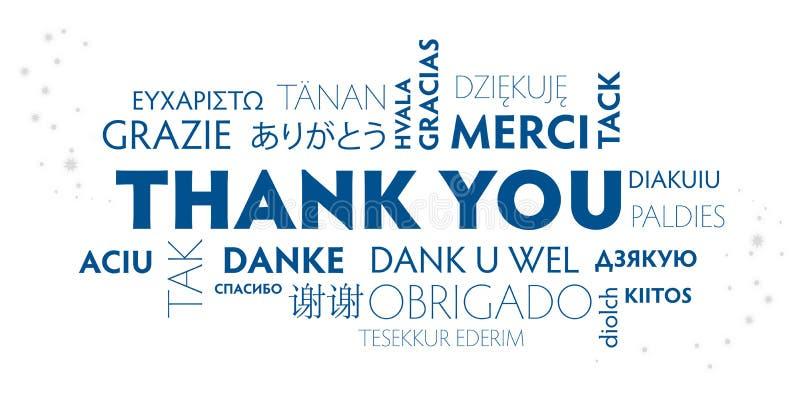 Grazie cartolina blu e bianca multilingue royalty illustrazione gratis