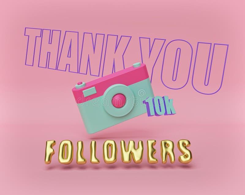 Grazie insegna dei seguaci 10K con la macchina fotografica a colori pastello rappresentazione 3d illustrazione vettoriale