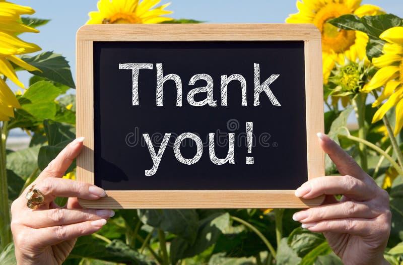 Grazie - lavagna con i fiori immagine stock libera da diritti