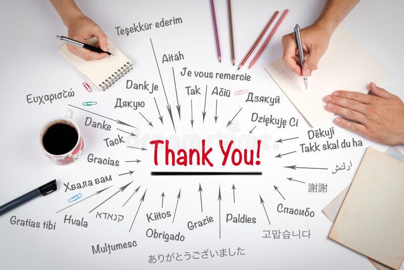 Grazie nelle lingue differenti del mondo La riunione alla tavola bianca dell'ufficio immagini stock