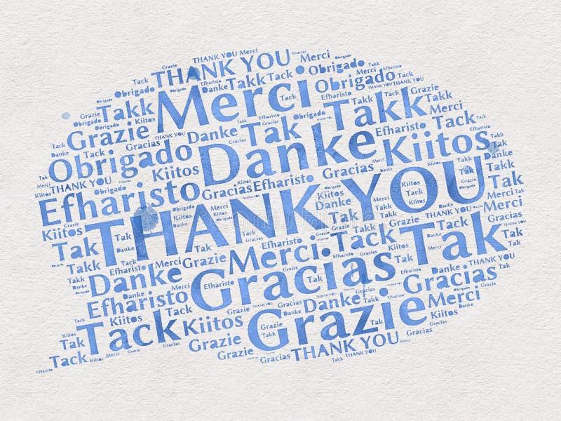 Grazie parole nelle lingue differenti illustrazione vettoriale