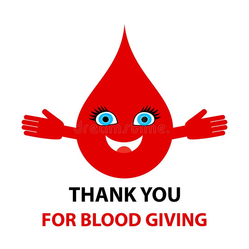 Grazie per dare del sangue - testo Illustrazione astratta di vettore di concetto di donazione di sangue illustrazione di stock