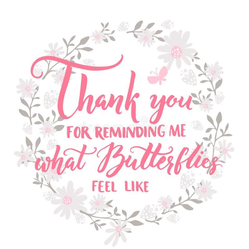 Grazie per ricordarmi cui le farfalle ritengono come Citazione circa amore e la relazione Dire di giorno di biglietti di S. Valen illustrazione vettoriale