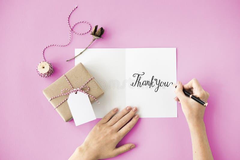 Grazie ringrazia il regalo apprezzano il concetto di ringraziamento fotografia stock libera da diritti