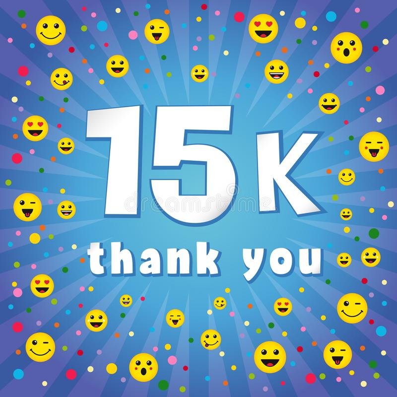 Grazie 15 000 seguaci di K illustrazione di stock