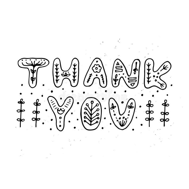 Grazie tipografia Iscrizione floreale sveglia fatta nel vettore royalty illustrazione gratis
