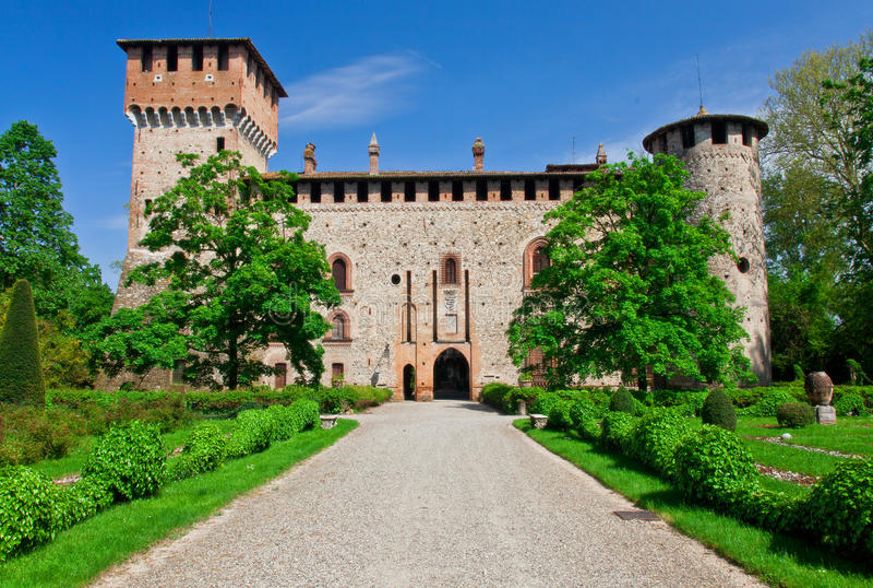 Grazzano visconti城堡 免版税库存照片