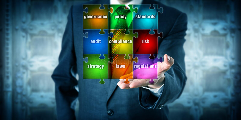 GRC Manager Presenting A Virtual Planning Matrix stock photo
