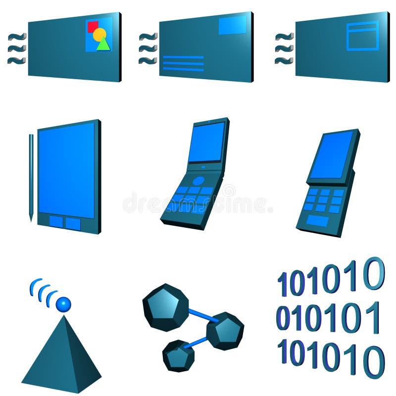 gre图标行业移动电话集合电信 向量例证