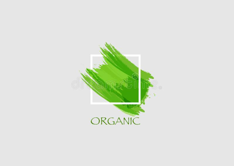 Logo Organic green Original grunge brush paint texture design logo acrylic stroke poster over square frame vector. Rough paper royalty free illustration