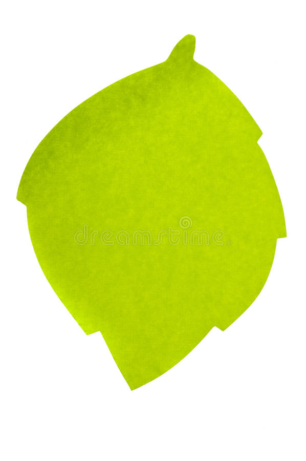 Grean leaf sticky note royalty free stock photo
