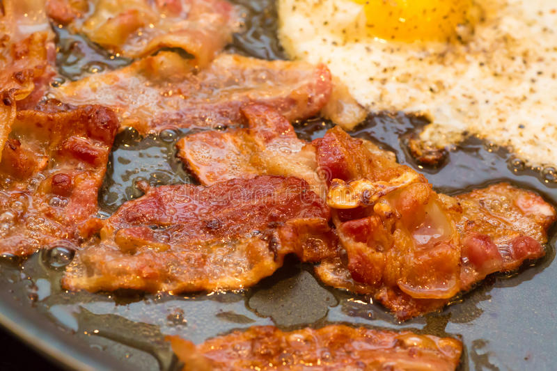Greasy Fried Egg and Bacon. A greasy breakfast of fried bacon and an egg frying in a frying pan stock images