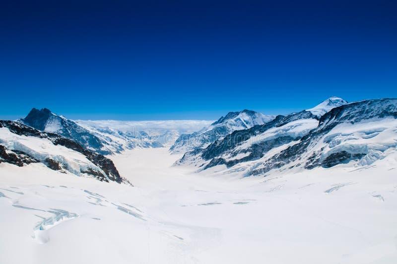 Great Aletsch Glacier, Jungfrau, Swiss Alps Snow Mountain Landscape of Switzerland. stock photo