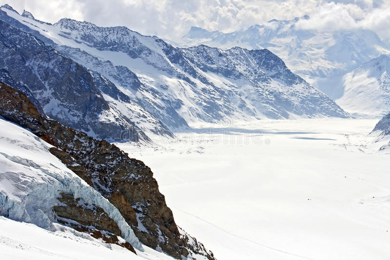 Great Aletsch Glacier Jungfrau Switzerland royalty free stock images